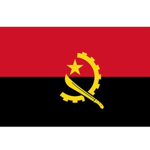Flag of Angola. Susan jackson Associates will be asissting with the set-up of the first British school in Angola.